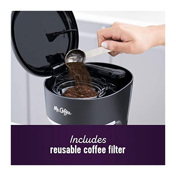 Mr. Coffee 5 Cup Programmable 25 oz. Mini, Brew Now or Later, with Water Filtration and Nylon Reusable Filter, Coffee… 5 Compact design that fits nicely into small spaces Brew later feature allows you to set your coffeemaker ahead and wake up to fresh brewed coffee Ergonomic carafe designed for easy pouring and handling with ounces markings for better measuring