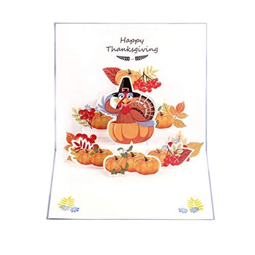 Amosfun 3D Thanksgiving wenskaart met pompoenen Turkije patronen Pop Up kaarten uitnodigingskaart voor herfst herfst oogst Thanksgiving Nieuwjaar partij geschenken