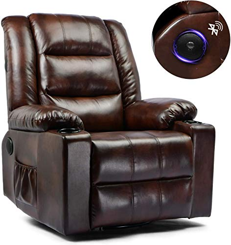ComHoma Massage Recliner Chair PU Leather Home Theater Recliner Chair with Heat Rocker Recliner with Heated Massage Ergonomic Lounge Swivel/Cup Holder/Remote Control for Living Room (Brown)
