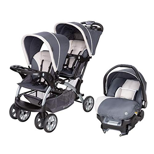 Baby Trend 5 Point Double Stroller & 35 LB Infant Car Seat w/Car Base