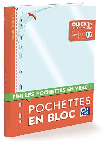 OXFORD Bloc de 60 Pochettes Perforées Quick'in A4 Polypro Lisse Epaisseur 5/100ème Incolore