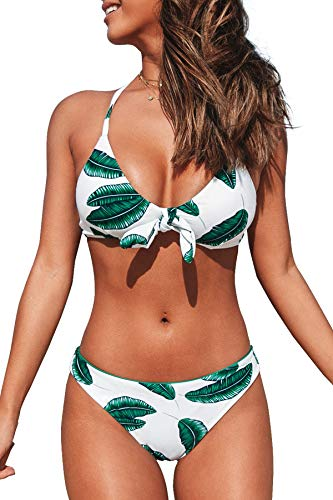 CUPSHE Damen Bikini Set Knot Bikini Swimsuit mit überkreuzten Trägern Low Rise Bademode Zweiteiliger Badeanzug Grüne Blätter L