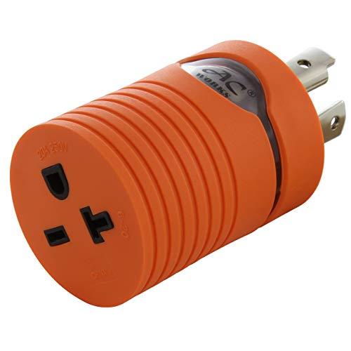 AC WORKS L14-30P 30Amp 4-Prong Locking Plug to NEMA 6-20R 250-Volt Female Connector (Compact)