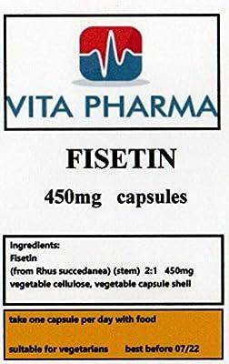 Vita Pharma Fisetin Tabletten, Hohe Dosis, 450 mg, 365 Kapseln, 1 Jahr Vorrat, Eine am Tag