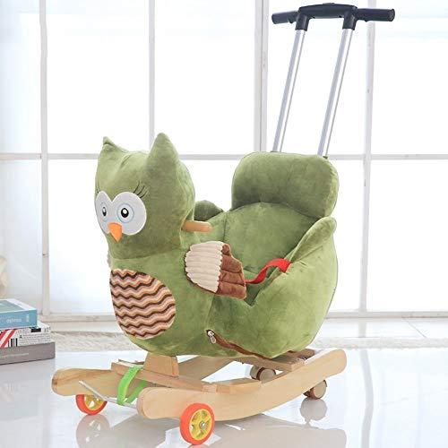 Kiblcy Bébé Tout-petit animal Hibou premier cheval à bascule avec poulie, Chaise équitation en bois Rocker Balance Seat exercice doux en peluche tour sur le jouet cadeau d'anniversaire for Garçon Fill