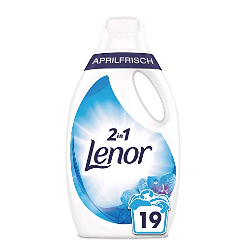Lenor Waschmittel Flüssig, Flüssigwaschmittel, 19 Waschladungen, Lenor Aprilfrisch mit Duft von Frühlingsblumen (1.045 L)