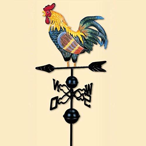 SHOH Coq Girouette Bulary Traditionnel Dessin Couleur Coq 130 cm Girouette Décoration De Jardin Marque Vent avec Points Cardinaux Coq Girouette en Métal Coq en Fer Girouette Rétro
