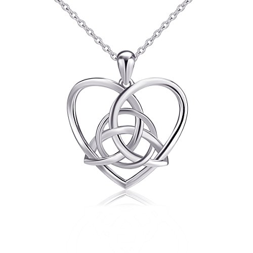 925 Sterling Silver Good Luck Irish Celtic Knot Triangle Vintage Love Heart Pendant Necklace, 18 inches