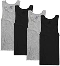 Fruit of the Loom Men's Tag-Free Premium Cotton Underwear & Undershirts, Tank - 4 Pack - Assorted, Large