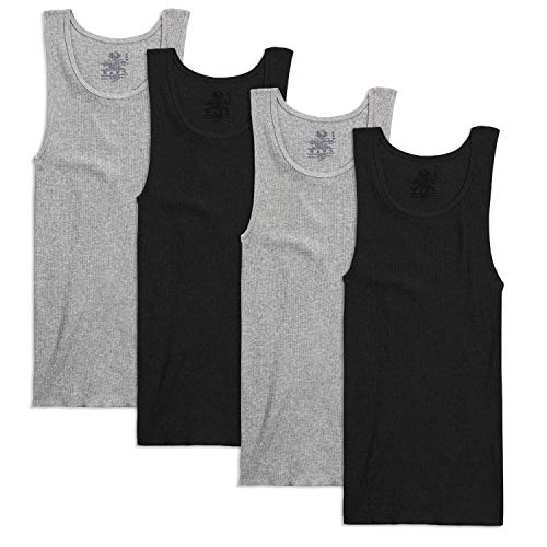 Fruit of the Loom Men's Tag-Free Premium Cotton Underwear & Undershirts, Tank-4 Pack-Assorted, Small
