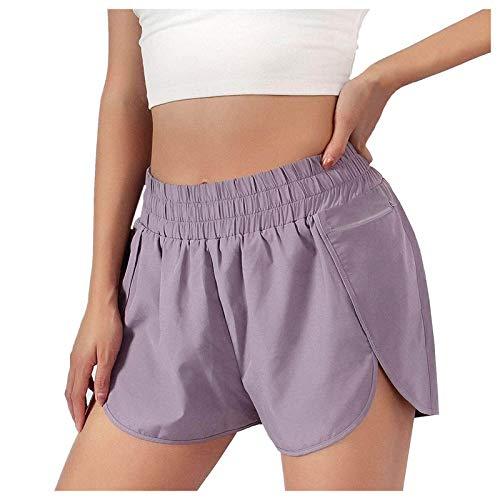 HWTOP 2 in 1 Laufhose Damen Kurze Sporthose Yoga Hose Fitness Shorts Schnell Trocknend mit Gesäßtasche 08 Lila M