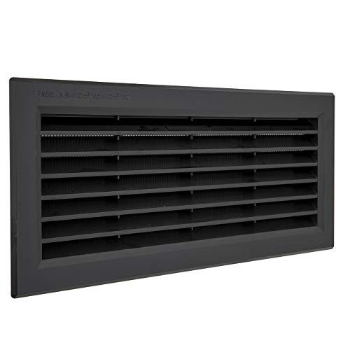 La Ventilazione P31R13N - Rejilla de ventilación rectangular de plástico negro para empotrar con red antiinsectos. Dimensiones: 315 x 136 mm
