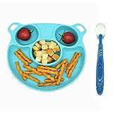 Xiangmall Assiette Compartiment Silicone Assiette Napperon Libre Bpa Assiette à Ventouse Avec CuillèRe Pour Bebe Enfants