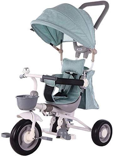 Pushchairs kindertrikes peuter fiets peuter driewieler 4-in-1 ouder duwen driewieler voor kinderen met verstelbare stoel met luifel verstelbare hoogte duwen rit driewieler baby producten