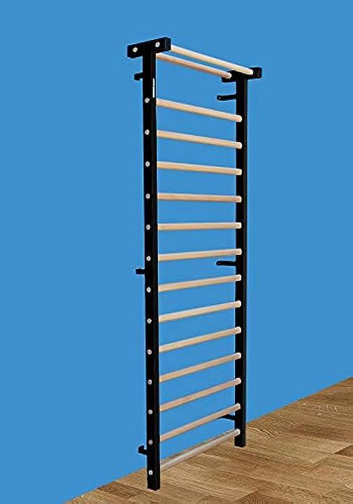 Spalliera svedese in metallo/legno per terapia fisica e ginnastica 230x90 cm, codice 221-m-nero B08RDTXR4N