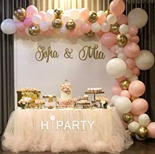 120pcs Balloon Garland Arch Kit 16Ft Long Pink White Helium Quality Latex Balloons Pack for Baby Shower Party Decoration Weeding Bachelorette Party Xmas