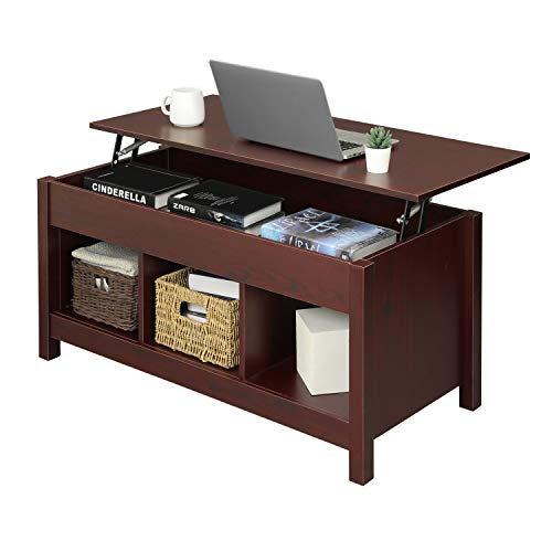 Itaar Lift Top Coffee Table with Hidden Storage Compartment & Shelf, Modern Lift Tabletop Dining Table for Living Room Office Reception, Cherry-red