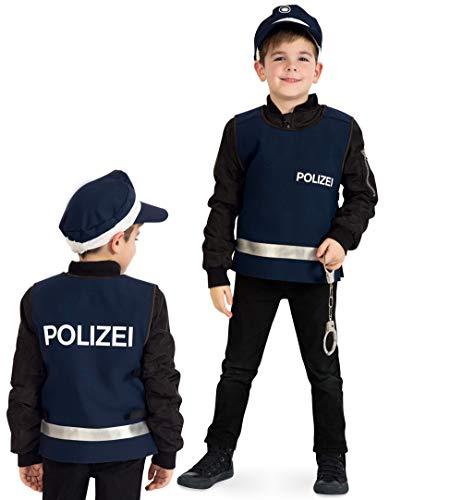 FRIES Polizei Kostüm Kinder Policeman Weste Einsatzweste Polizist Kinderkostüm