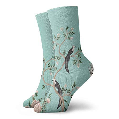 Almost-Okay-Shop Socken Vintage Chinoiserie Blumen Rosenbaum Pflanze Vogel Grenze Türkis BackgrounRunning Socken Frauen und Männer - Crew Athletic Sock