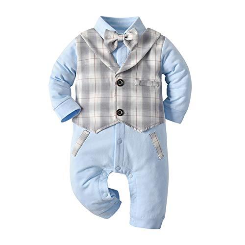 """""""N/A"""" Otoño Ropa para niños bebé Mameluco de Manga Larga a Cuadros Falso Mameluco de Dos Piezas Mono de excursión para bebés,Blue,95cm"""