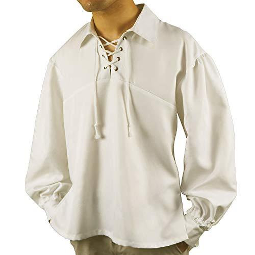 Camisa de Pirata para Hombre, Camisetas de Cosplay de Pirata Retro, Disfraz de Steampunk Medieval renacentista, Camisa de Manga Larga con Cordones