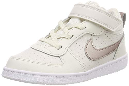 Nike Baby Mädchen Court Borough MID Sneaker, Mehrfarbig (Phantom/MTLC Red Bronze-White 007), 21 EU