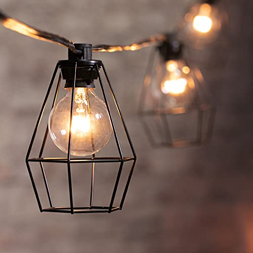 Outdoor Lantern String Lights Cafe Lights 20Feet with 12 Clear G40 Bulbs and Vintage Metal Lamp Shades, Indoor Outdoor Lights for Patio Yard Decor Garden Gazebo Backyard Hanging Decorations, Black