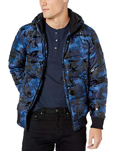 GUESS Men's Print Hooded Puffer Jacket, Blue Camo, Medium