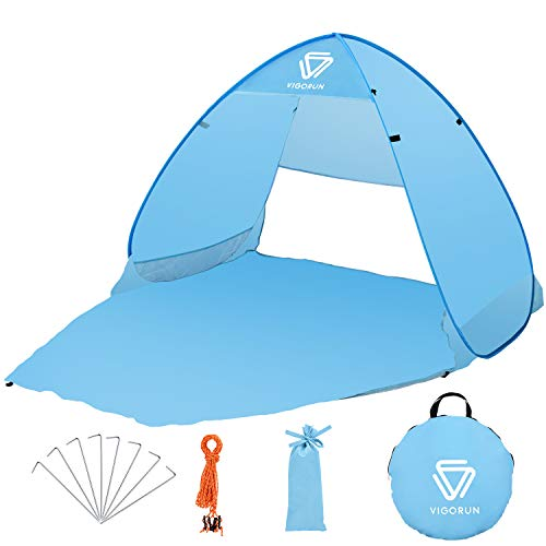 Vigorun Pop up Beach Tent for 2 Adults or 3 Children,Portable Waterproof UV Protection 50+Beach Sun SheltersTent for Beach, Garden, Camping, Fishing, Picnic
