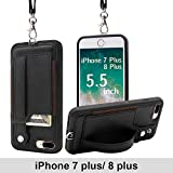 TOOVREN Upgraded iPhone 7 Plus Case, iPhone 8 Plus Wallet Case, Necklace Lanyard Case with Kickstand Card Holder, Ajust Detachable Anti-Lost Lanyard Strap Perfect for Travel Daily use, Work Black