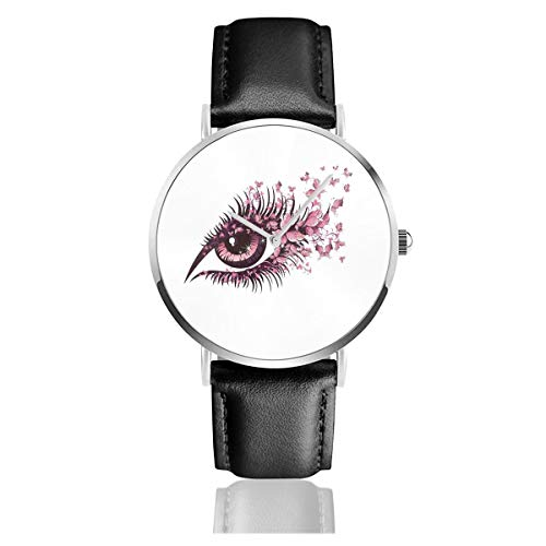Pink Butterflies Decor, Female Eye with Butterfly Eyelashes Mascara Makeup Party Celebration_副本 Men Wrist Watches Genuine Leather for Gents Teenagers Boys