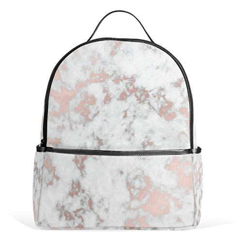 Funny Leisure backpack Rose Gold Best Marble Lightweight Daybags Anti Theft School Bookbag