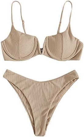 Verdusa Women s Underwire Bra High Cut Two Piece Bikini Swimsuit Bathing Suit Apricot M product image