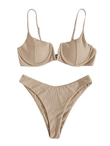 Verdusa Damen Bügel-BH High Cut Zweiteiliger Bikini Badeanzug Badeanzug - Beige - Small