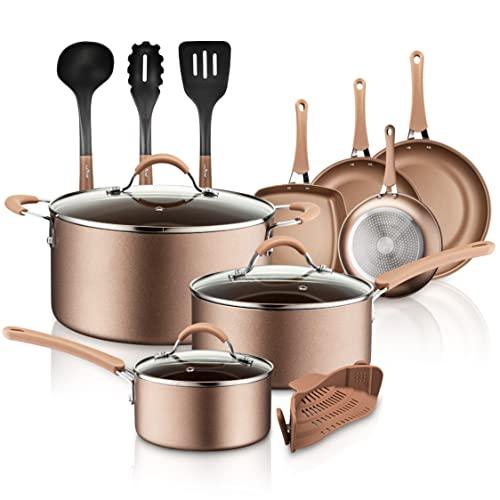 NutriChef 14-Piece Nonstick Cookware PTFE/PFOA/PFOS-Free Heat Resistant Lacquer Kitchen Ware Set...