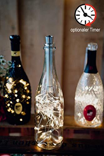 3x Flaschenlicht mit Timer, Hellum Flaschen Licht Warmweiß, 20 LED Flaschen-Lichterkette Batteriebetrieben LED Lichterkette für Flaschen DIY, Tisch Deko, Weihnachten 524451
