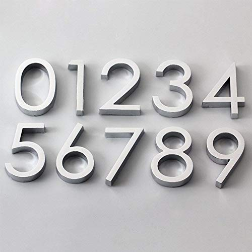 IUIIUI Moderna Auto-Adhesivo De La Puerta Número 3D Señal, 0-9 Número De Dígitos Apartment Hotel Puerta Oficina Dirección Número Calle Pegatinas De Plata (Color : Silver, Size : 1)