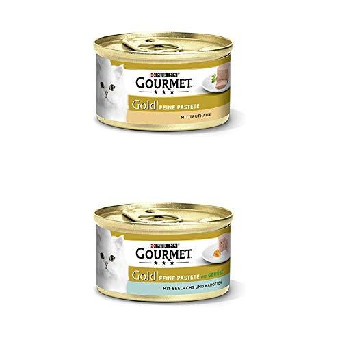 Gourmet Gold Katzenfutter 24er Mix-Pack (2 x 12 x 85g) Pastete mit Truthahn und mit Seelachs