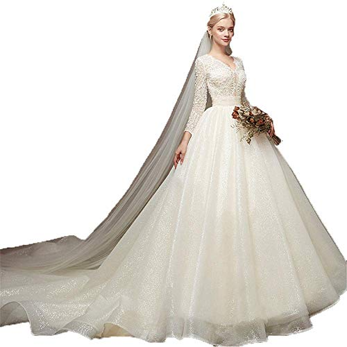Snygg enkelhet kvinnors bröllopsklänningar kvinnor långärmad pärlor applikation nät tyll svep tåg brudklänning lång svans smal brudklänning för bröllop, LIFU, vit, XL