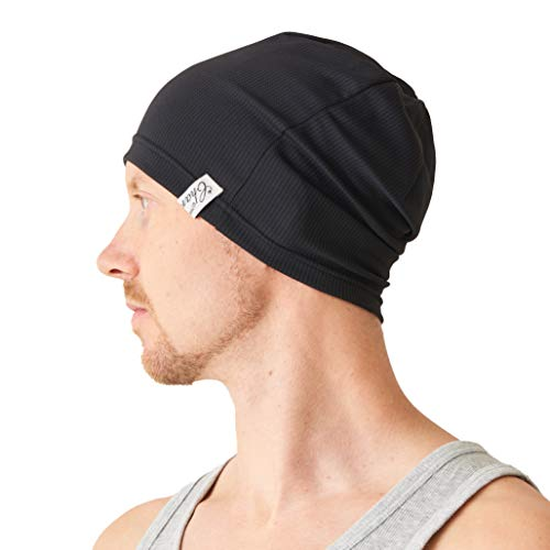 CHARM Sports Beanie Lightweight Mens - Light Weight Moisture Wicking Womens Fitness Running Cycling Gym Active Wear Casualbox Black