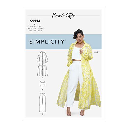 Simplicity SS9114H5 Schnittmuster S9114 Damenkleid, Oberteil und Hose, verschieden, H5 (6-8-10-12-14)