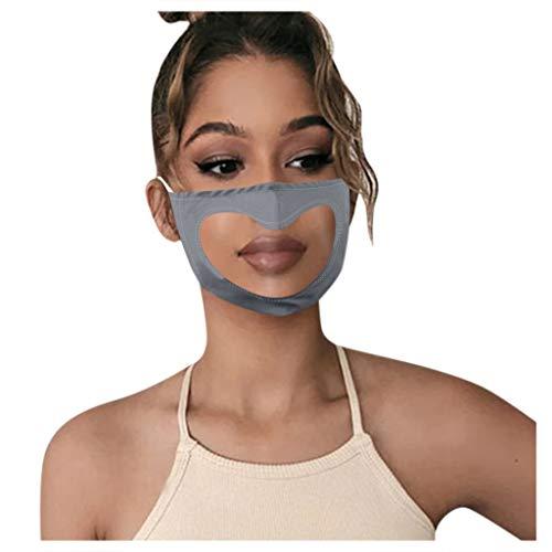 1 Stück Lippen Mundschutz mit transparente mundschutz, Atmungsaktive mundschutz waschbar Anti Staub mundbedeckung Stoff Wiederverwendbare Für Taubstumme (Grau)