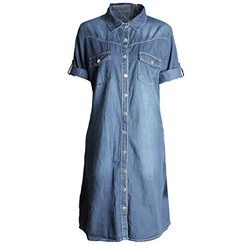 LeeMon Damen JeansKleid, Jeanskleid Hemdblusenkleid Longshirt Tunika Blau Hemd Kleid Kurzarm Sommerkleider Jeans Minikleid Sommerkleider Ärmellos BOD