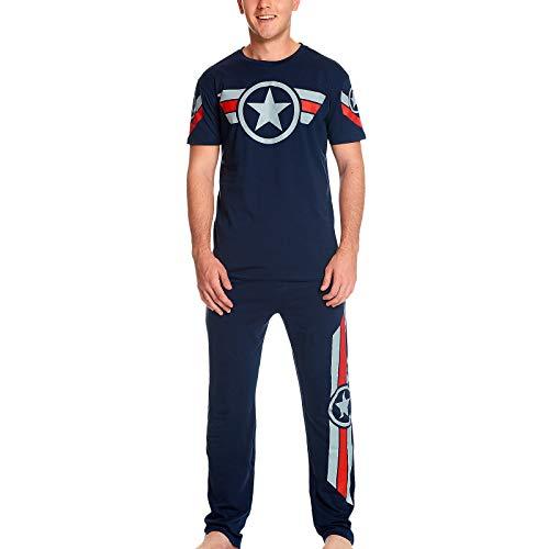 Captain america Elbenwald Marvel Pyjama Soldier Logo Print auf Shirt und Langer Hose 2 teilig für Herren blau - S