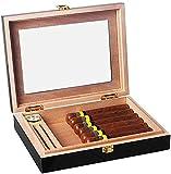 QHHALXZ Caja de cigarros portátil, caja de cigarros de madera de cedro, con vidrio/higrómetro/humidificador caja decorativa (color: negro)