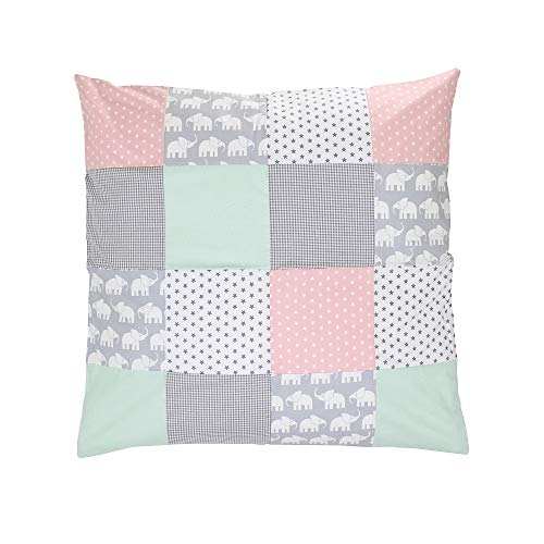 ULLENBOOM ® Baby Bezug 80x80 cm für Bettdecke & Kissen Elefant Mint Rosa (Made in EU) - Bezug aus Baumwolle für Babybettwäsche oder als Kissenbezug, ideal im Kinderwagen