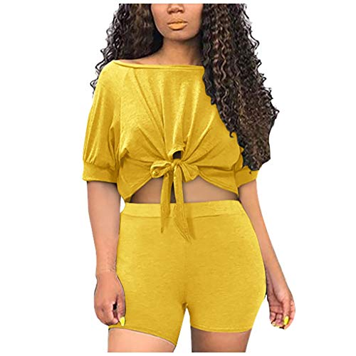 BALABA❥Women Sexy Solid Color Boat Neck Half Sleeve Split 2 Piece Workout Outfits Casual Classic Sportswear Shorts Suit Yellow