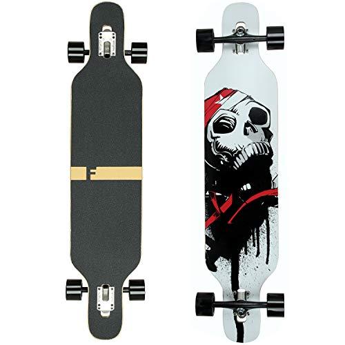 FunTomia Longboard Skateboard Drop Through Cruiser Komplettboard mit Mach1 High Speed Kugellager T-Tool mit und ohne LED Rollen (Mod. Camber - Ahornholz weiß Skull)