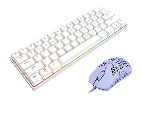 GK61 Mechanical Gaming Keyboard (White, Gateron Optical Yellow) + HK Gaming Mira-M Honeycomb Gaming Mouse (Lavender)