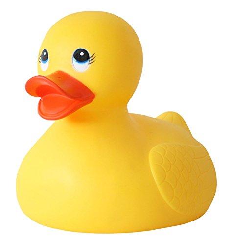 Idena 40454 - Badeente XXL im Netz, ideal als Geschenk, Deko oder Badewannenspielzeug für Kinder und Babys, ca. 28 x 21 x 23 cm
